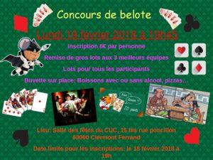 Concours Belote @ Foyer du Cuc